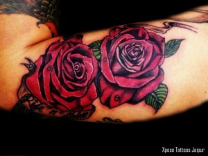 two-roses-tattoo-by-Xpose-Tattoos-Jaipur-India