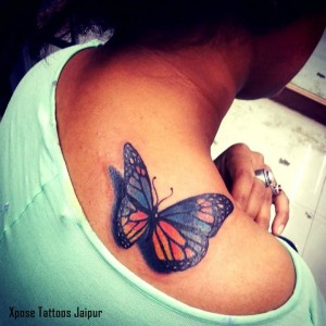 3d colour butterfly tattoo by Xpose tattoos Jaipur India