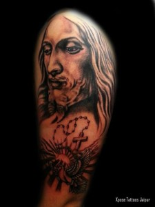 Jesus portrait half sleeve tattoo by Xpose Tattoos jaipur india