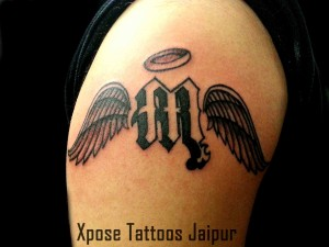 M letter wings tattoo by Xpose Tattoos Jaipur India