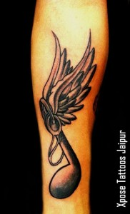 Musical Note wings Tattoo by Xpose Tattoos Jaipur India