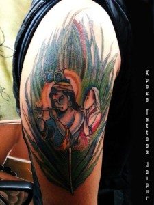 Radha Krishna peacock feather Tattoo by Xpose Tattoos Jaipur India