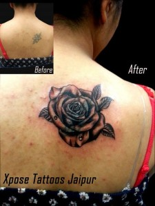 cover up rose tattoo by Xpose Tattoos Jaipur India