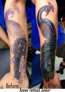 peacock Cover up tattoo by Xpose Tattoos Jaipur India