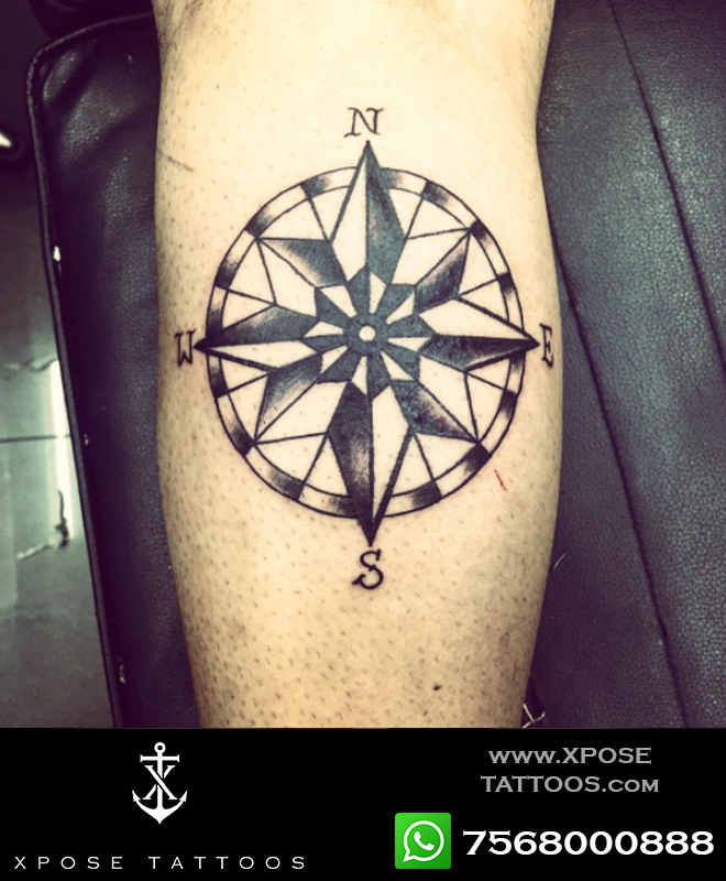 black n white compass tattoo by xpose tattoos jaipur