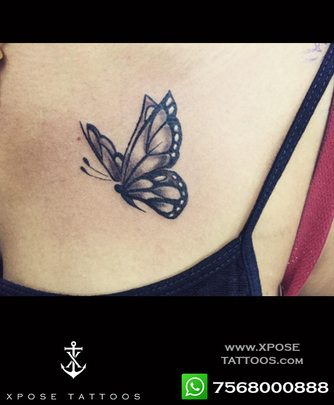 butterfly tattoo by xpose tattoos jaipur