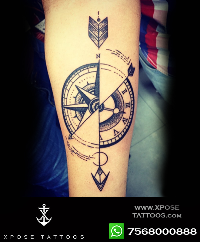 compass arrow tattoo by xpose tattoos jaipur