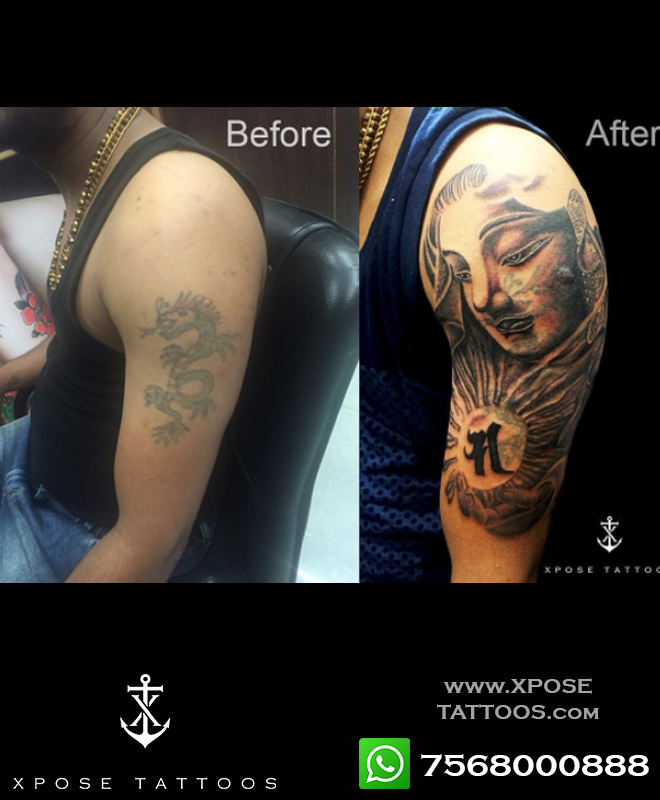 cover up tattoo by buddha at xpose tattoos jaipur
