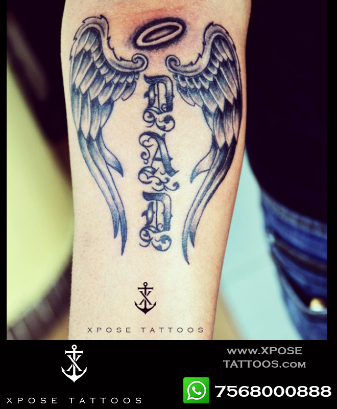 dad wings tattoo by xpose tattoos jaipur