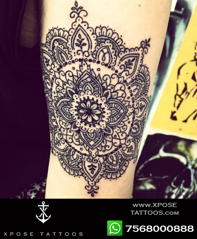 dotwork mandala tattoo by xpose tattoos jaipur