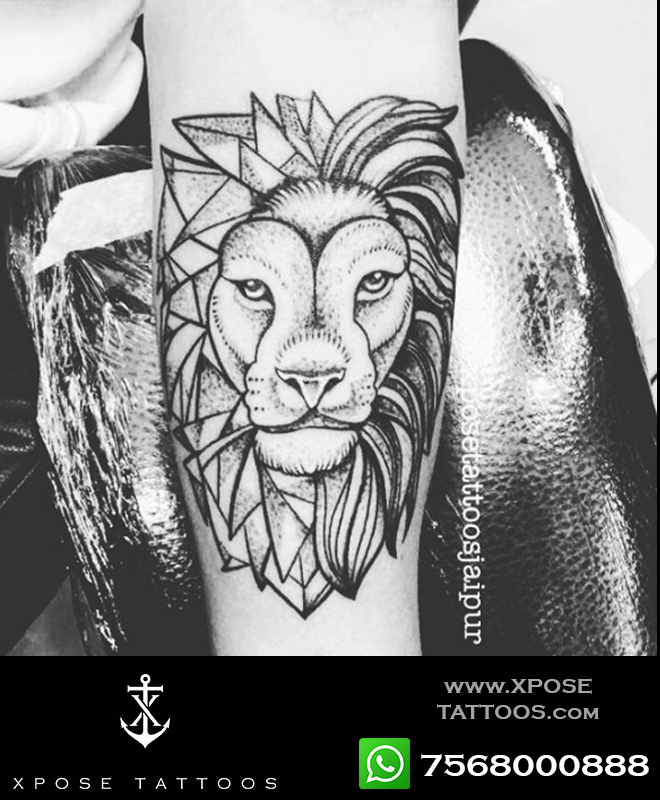 geometric lion tattoo by xpose tattoos jaipur
