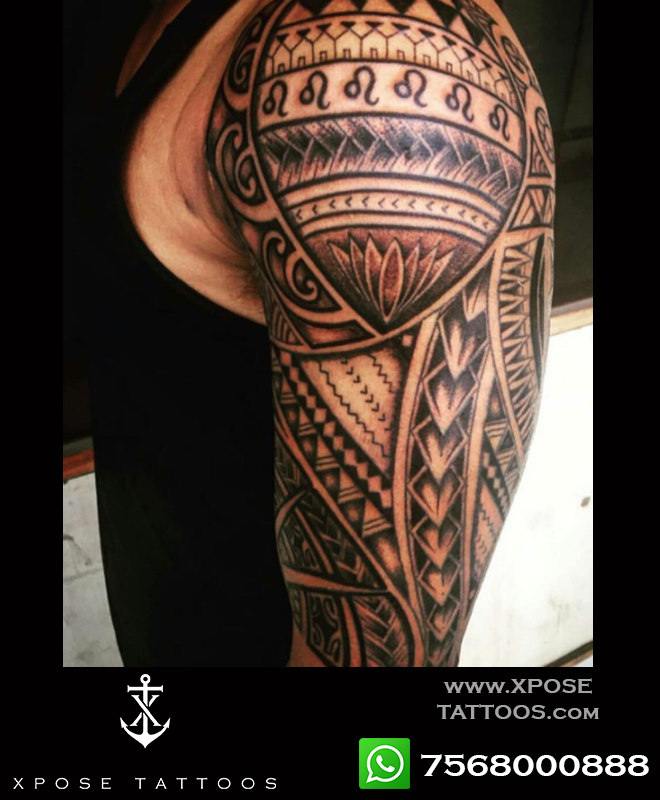 half sleeve polynesian tattoo by xpose tattoos jaipur