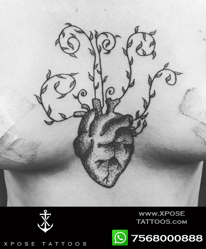 heart with vines dotwork tattoo by xpose tattoos jaipur