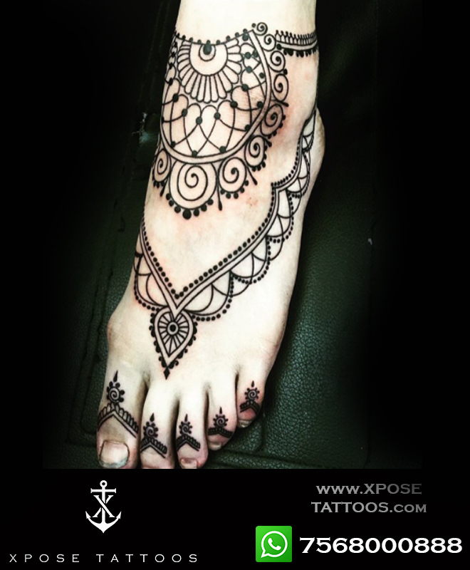henna inspired tattoo by xpose tattoos jaipur