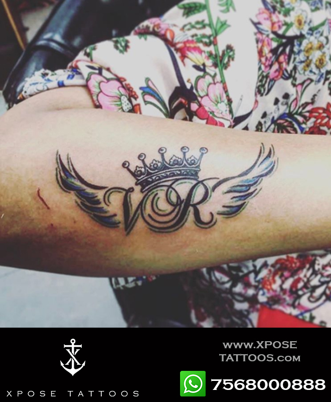 initials crown tattoo by xpose tattoos jaipur