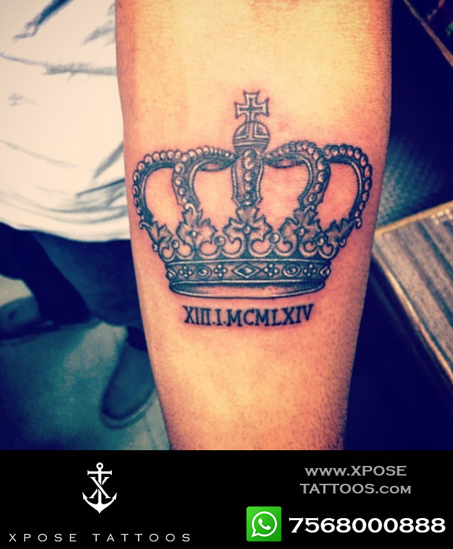 king crown tattoo dates in roman by Xpose tattoos jaipur