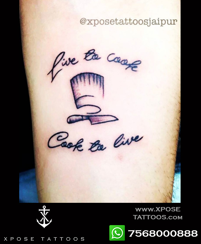 live to cook cook to live tattoo design by xpose tattoos jaipur