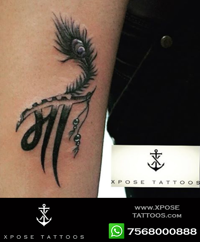 maa tattoo feather by xpose tattoos jaipur