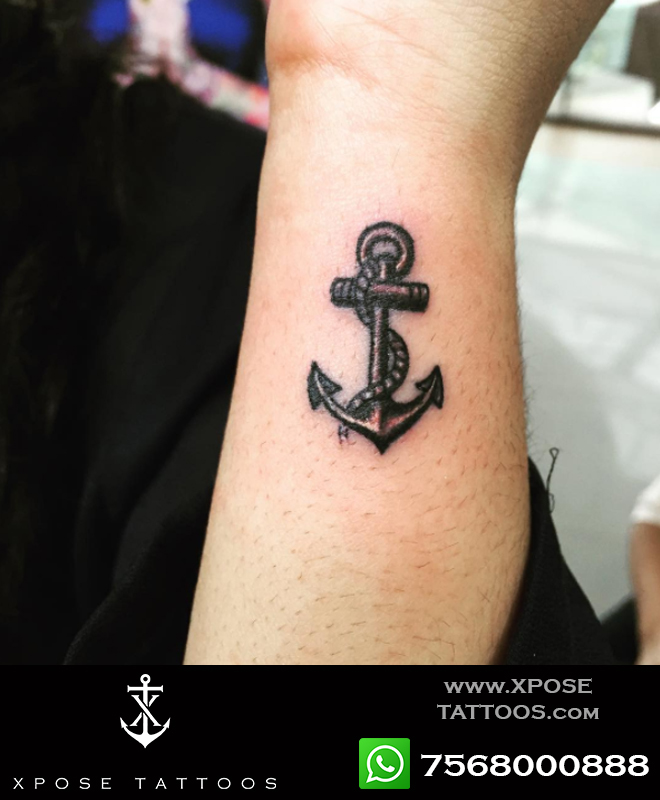 miniature anchor tattoo by xpose tattoos jaipur
