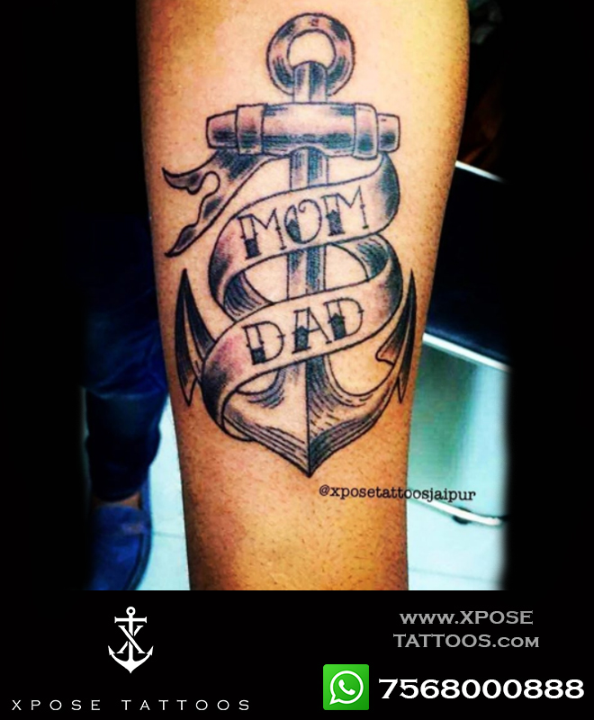mom dad anchord tattoo by xpose tattoos jaipur