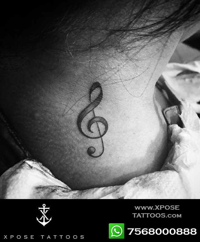 musical note tattoo by xpose tattoos jaipur