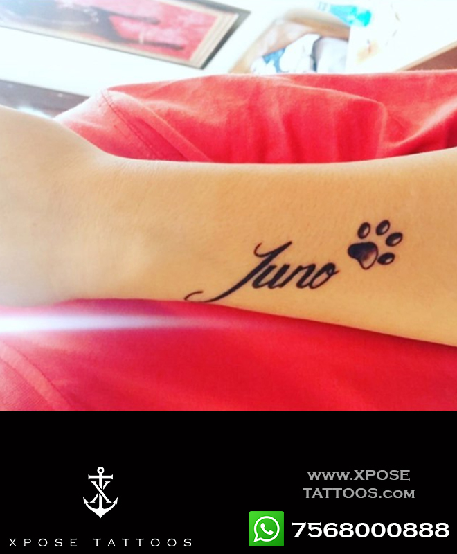 pet name tattoo with paw by xpose tattoos jaipur