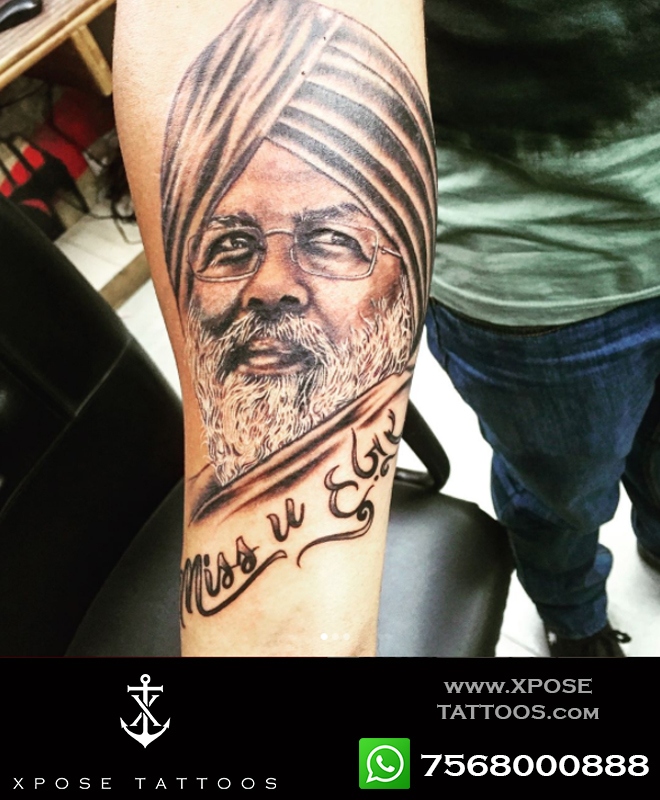 portrait tattoo nirankari baba by xpose tattoos jaipur