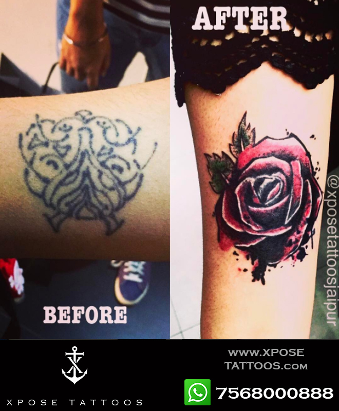 rose cover up tattoo by xpose tattoos jaipur