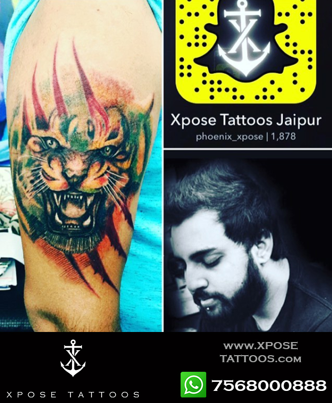 tattoo tiger by xpose tattoos jaipur